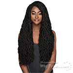 WIGO Collection Synthetic Hair Extreme Side Deep Natural Plucked Lace Front Wig - LACE WAVY FAUX LOC 20 (Ear-to-Ear Elastic Band Wig)